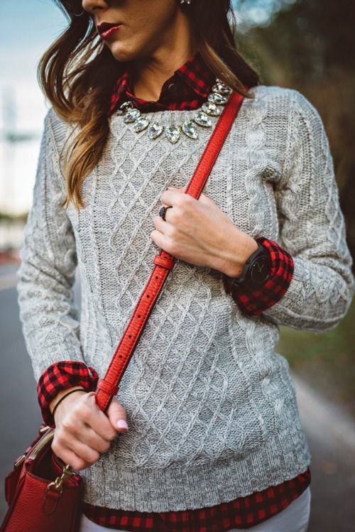 f1ed704693c 9-cozy-winter-outfits-with-knits. Wear a flannel plaid shirt ...