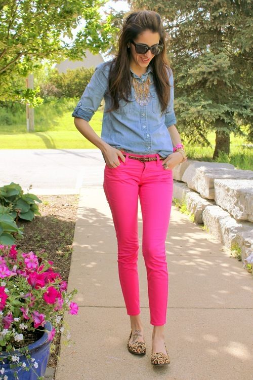 9 Ways Wear Hot Pink Pants Spring Outfits