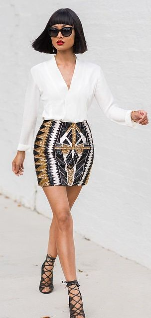 How to combine a sequin skirt with many different garments ...