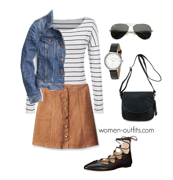 spring outfits with a denim jacket striped top suede skirt - 6 stylish denim jacket outfits for spring that you can wear every day
