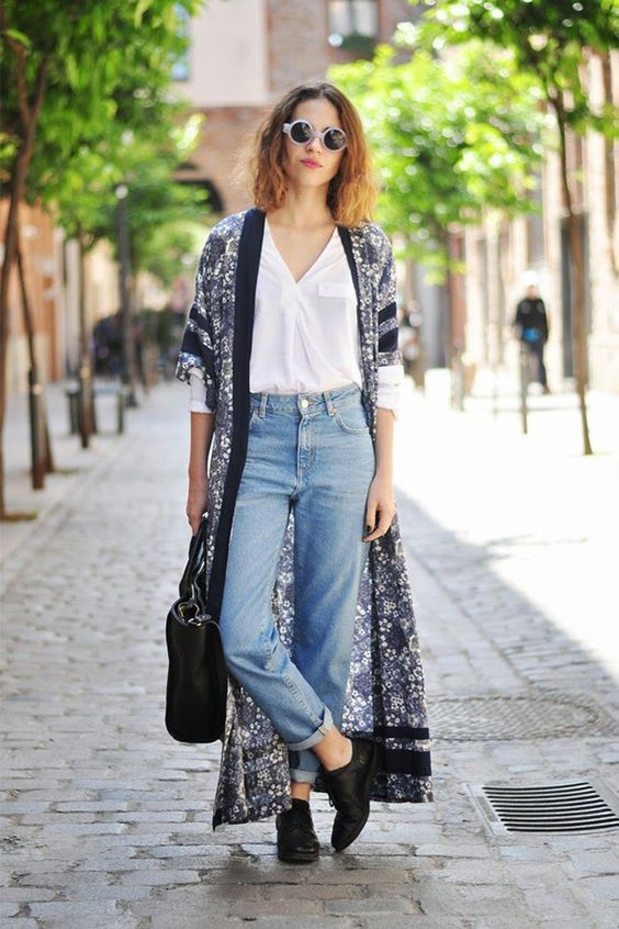 wear jeans kimonos spring 3 - How to wear jeans with kimonos in spring