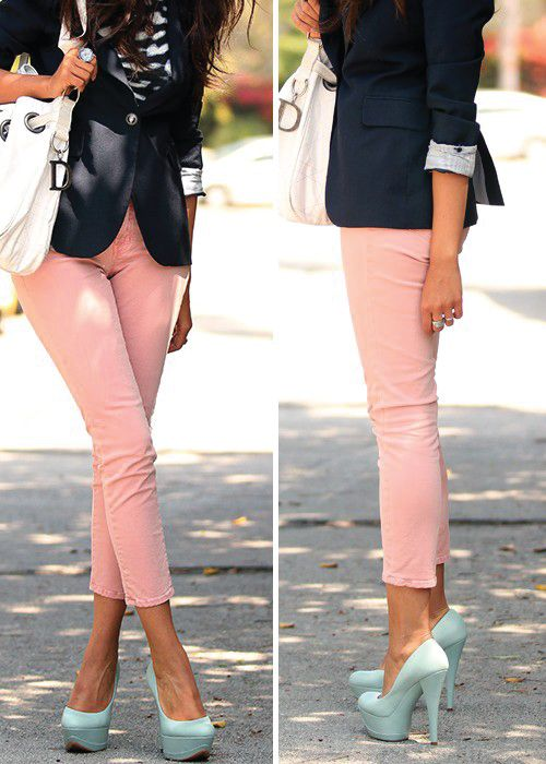 wear pastel cigarette pants spring outfits 4 - How to wear pastel cigarette pants in spring outfits