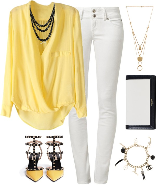 playful summer work outfit with white jeans and yellow shirt - 16 playful summer outfits that you can wear at work too